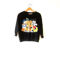 Vintage 1990s Mickey Mouse Donald Duck Disney Halloween Pumpkin Sweatshirt