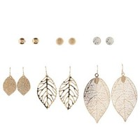 Gold Stud & Leaf Earrings - 6 Pack by Charlotte Russe