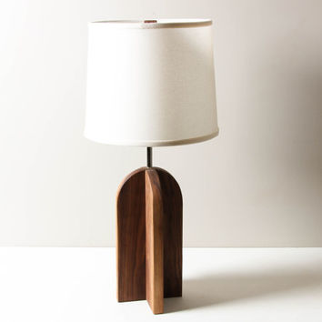 Oval Lamp in Walnut- Table Lamp, Wooden Lighting, Modern Sapele Lamp, Geometric Table Lighting