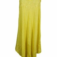 Mogul Interior Cocktail Sleeveless Embroidered Flared Boho Chic Sundress L (Yellow): Amazon.ca: Clothing & Accessories