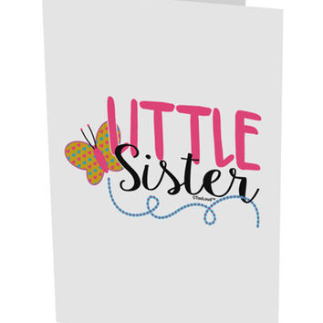 "Little Sister 10 Pack of 5x7"" Side Fold Blank Greeting Cards"