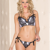 Lilac Satin And Lace Bra And Panty Set