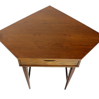 Danish Mid Century Modern Walnut Corner Desk Table