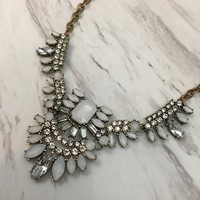 Opal & Clear Rhinestone Statement Necklace