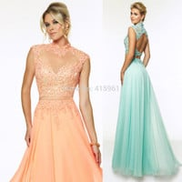 2015 New Arrival Coral Mint Green Lace Prom Dresses Two Piece Evening Gowns Backless Vestido de Chiffon E6155-in Prom Dresses from Apparel & Accessories on Aliexpress.com | Alibaba Group