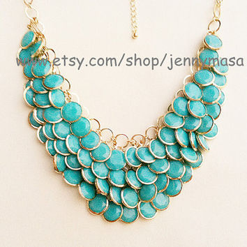 Turquoise Jewelry Wedding Necklace Bridesmaid Gift - Bubble Statement Necklace,Mermaid Necklace ,beadwork Beaded Jewelry,bib necklace