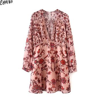 Red Plunge V Neck Lace Trim Long Sleeve Mini Dress Women Tied Front Back with Zipper Casual Dresses