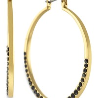 Jessica Simpson Gold-Tone Jet Crystal Hoop Earrings