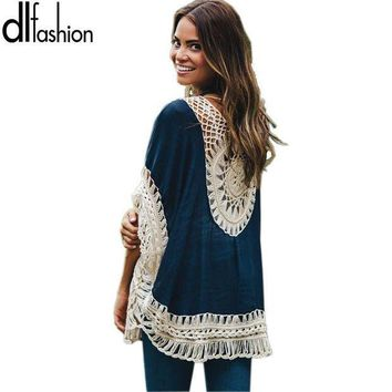 ICIKHY9 Big size bohemian handmade crochet lace women blouses shirts beach cover up patchwork loose batwing sleeve pareos ladies blouse