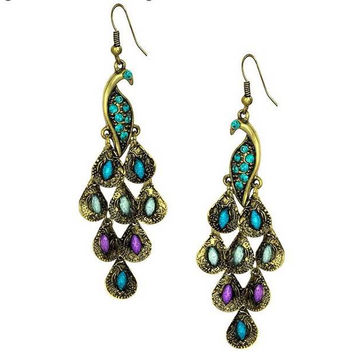 Gold Tone Vintage Peacock Blue Epoxy Crystal Feather Dangle Statement Earrings