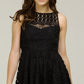 Triangle Back Flare Lace Dress - Black