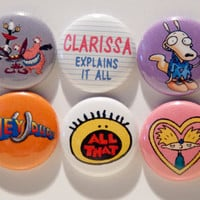 "Set of 6, 90's Nickelodeon 1"" Pinback Buttons"