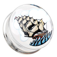 Sailing Ship Clear UV Double Flared Ear Gauge Plug