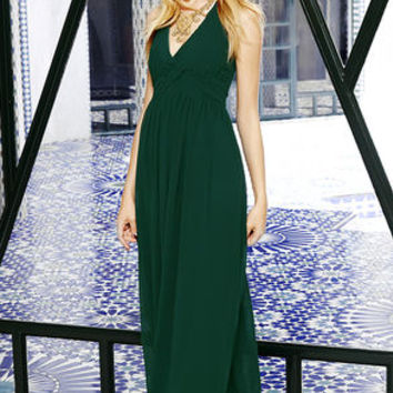 Strike a Minerva Dark Green Maxi Dress