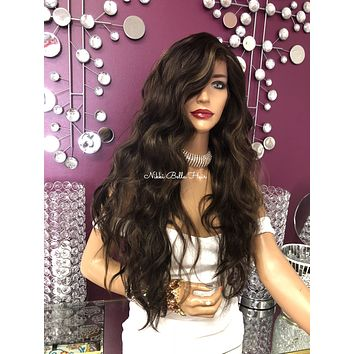 Brown balayage beach wave Lace front Wig 20"