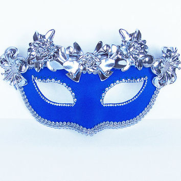 Venetian Mask - Masquerade Mask - Rhinestone Embellished, Fabric Covered With Metallic Flowers - Silver / Blue Mask