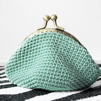 Vintage crocheted coin purse  /Mint/