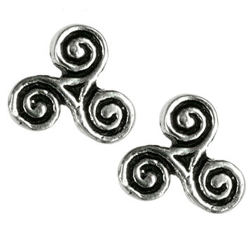 Celtic Triskelion Triple Spiral - Stud Earrings