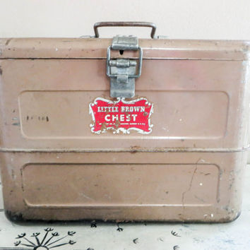 Little Brown Chest Ice Box Vintage Cooler Brown Cooler Industrial Cooler Storage Box Retro Cooler Brown Decor Rustic Decor Rustic Storage
