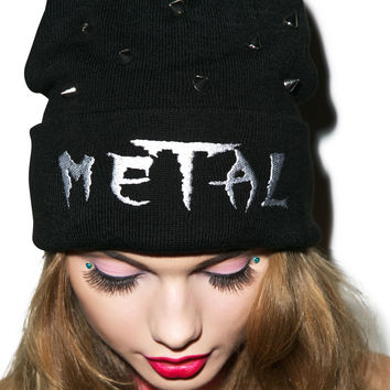RAT BABY Metal Beanie Black One