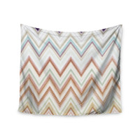 "Nika Martinez ""Seventies Chevron"" Beige Pattern Wall Tapestry"
