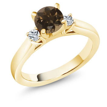 1.08Ct Brown Smoky Quartz White Topaz 18K Yellow Gold Plated Silver 3-Stone Ring