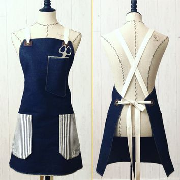 The Daily Grind No. 2 - Denim, Ticking, and Leather Cross-back Apron
