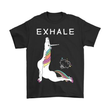 PEAPINY Unicorn Exhale Farting Rainbow Funny Yoga Shirts