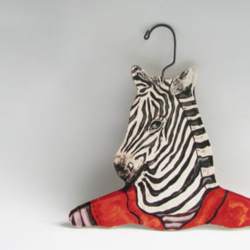 Vintage Wooden Zebra Animal Hanger