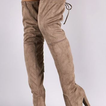 Breckelle Suede Almond Toe Over-The-Knee Chunky Heel Boots