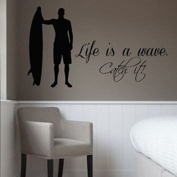 Surfing Wall Decals Quote Life As A Wave Catch It Boy Surfer Vinyl Decal Sticker Bath Interior Design Art Living Room Bedroom Decor KG840