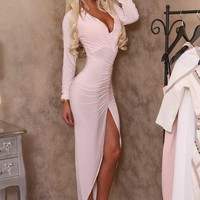 Pleasing Peach Plunge Ruched Midi Dress | Pink Boutique