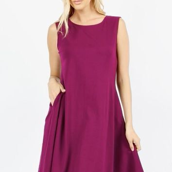 The Perfect Pocket Dress in Magenta