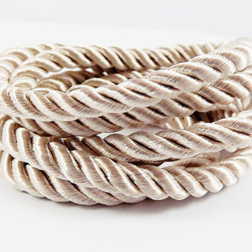 Light Beige 5mm Twisted Rayon Satin Rope Silk Braid Cord - 3 Ply Twist - 1 meters - 1.09 Yards - No: 24