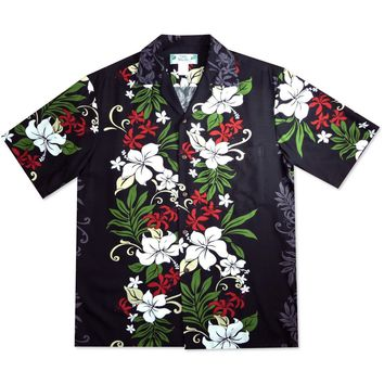 Luau Black Hawaiian Rayon Shirt
