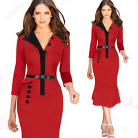 Red and Black Buttoned Half Collar Bodycon Midi Dress
