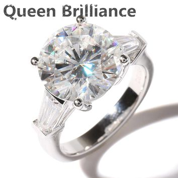 Queen Brilliance Luxury 5 Carat ct F Color Engagement Wedding Moissanite Diamond Ring Genuine 14K 585 White Gold For Women