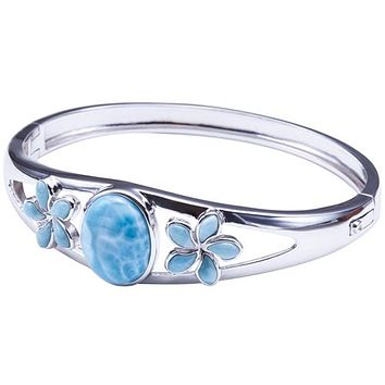 Sterling Silver Larimar Bangle Bracelet with Two Plumerias and one Oval