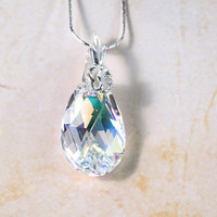 Crystal White Winter Pendant Swarovski Crystal Jewelry Christmas Gift Idea For Her