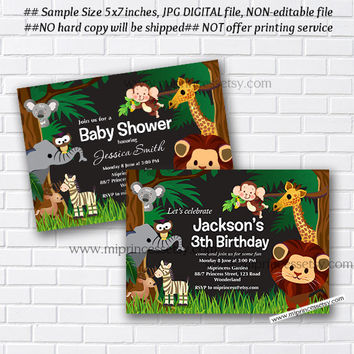 Jungle Animal Baby Shower, Jungle Birthday Invitation, Elephant, Lion, Giraffe, Monkey, little boy party,  party invitation - card 939