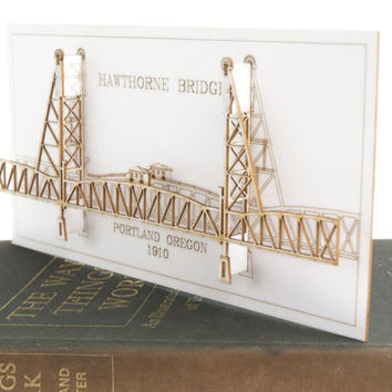 Architectural Model of the Hawthorne Bridge Portland Oregon - Laser Cut Card
