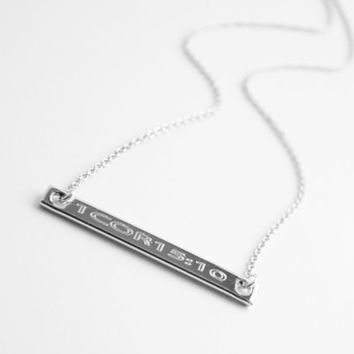 Dainty Horizontal Bar Necklace, Engravable Bar, Roman Numerals, Greek Letters, GPS Coodinates, Numbers, Sorority Jewelry, Wedding