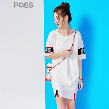 PASS Summer Dress 2017 Women White O-Neck Collar Short Sleeve Letter Printed  Spliced  Cotton Mesh Embroidered Casual Dresses