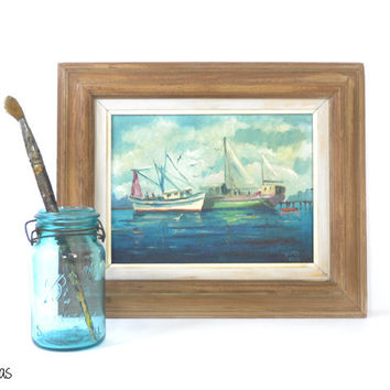 Vintage Oil Painting • Boat Painting • Signed Oil Painting • Walter Ashe • Nautical Fisherman Painting • Framed Seascape Painting • Sailor
