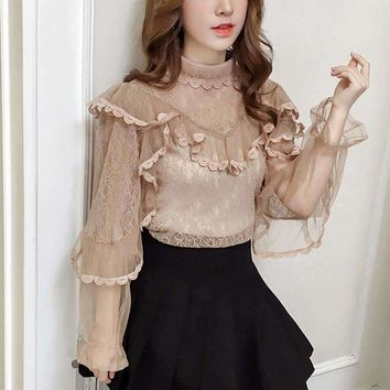 2018 spring women chic Korean o neck long lace mesh lantern sleeve blouse sweet ruffles splicing hollow out female shirt tops
