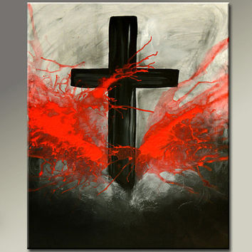 Abstract Canvas Art Painting - 18x24 Contemporary Modern Original Cross Art by Destiny Womack - dWo - Forgiven