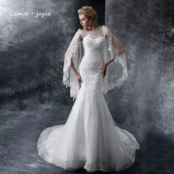 Lemon joyce Mermaid Wedding Dresses with Jacket Appliques Embroidery Fashion New Bridal Dress Court Train Wedding Gown
