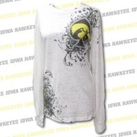 University of Iowa Long Sleeve #1 'Spades' All Over Print Ladies Burnout Tee - XLarge