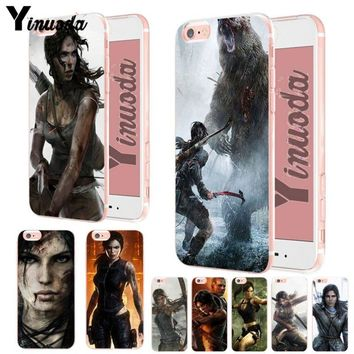 Yinuoda rise of the tomb raider wallpaper Soft silicone Cover case For iPhone XSMax X XS XR 7 7Plus 8 8plus 6 6s 6plus