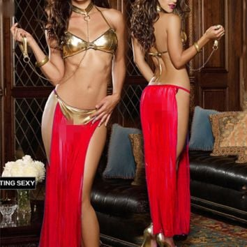 NEW Ladies Dancing Costumes -- Golden bra +Perspective dress+Handcuffs 3 color Pole